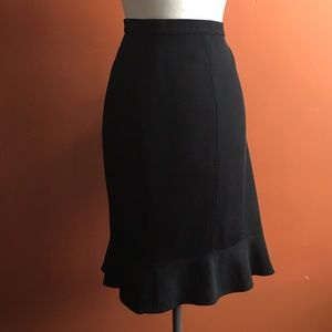 RENA LANGE Solid Black Ruffled Skirt Size 16